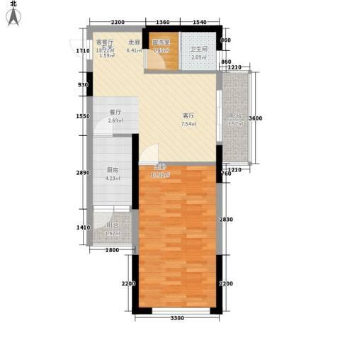 金色港湾五期1室1厅1卫1厨70.00㎡户型图