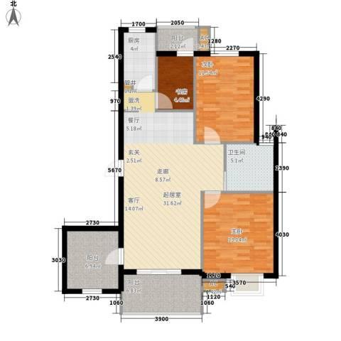 金龙花园二期3室0厅1卫1厨121.00㎡户型图