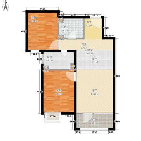 裕祥园2室0厅1卫1厨90.00㎡户型图
