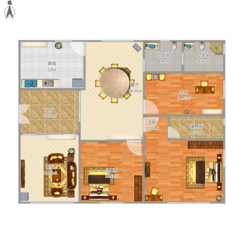山水文园五期3室2厅2卫1厨184.00㎡户型图