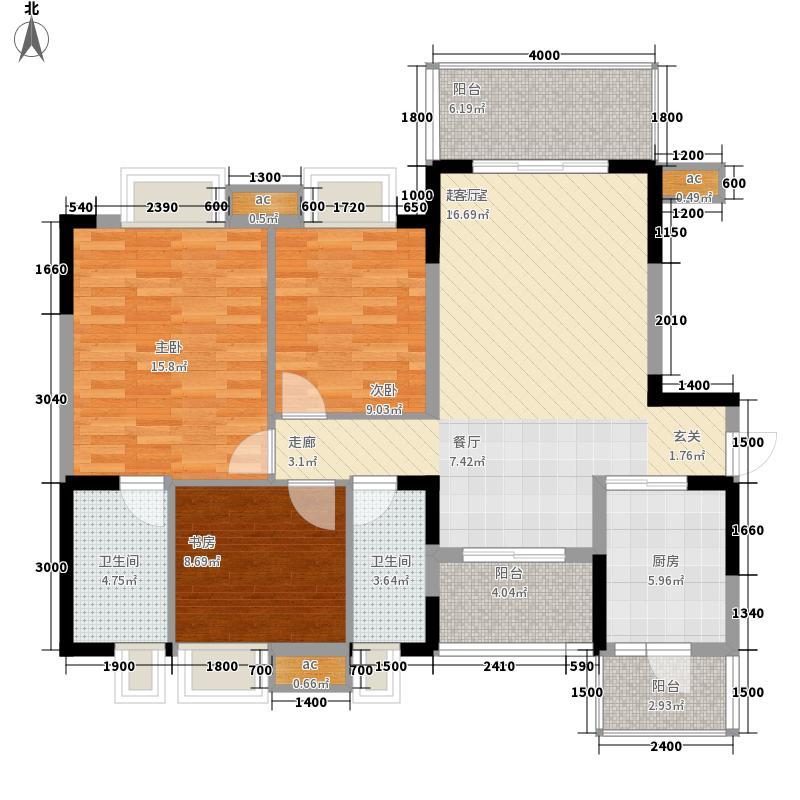 香木林领馆尚城113.16㎡2栋1单元标准层B1户型3室1厅2卫1厨