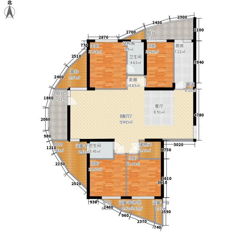 金色港湾五期187.00㎡金色港湾五期户型图7#楼J1户型4室2厅2卫1厨户型4室2厅2卫1厨
