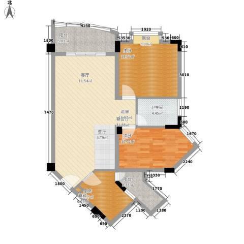 银海峰景2室1厅1卫1厨76.26㎡户型图