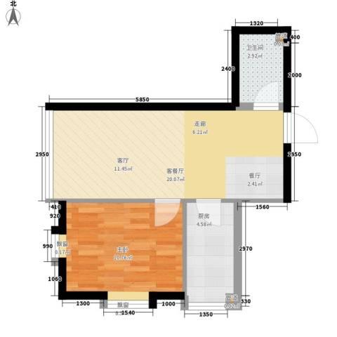 宜家国际公寓1室1厅1卫1厨57.00㎡户型图