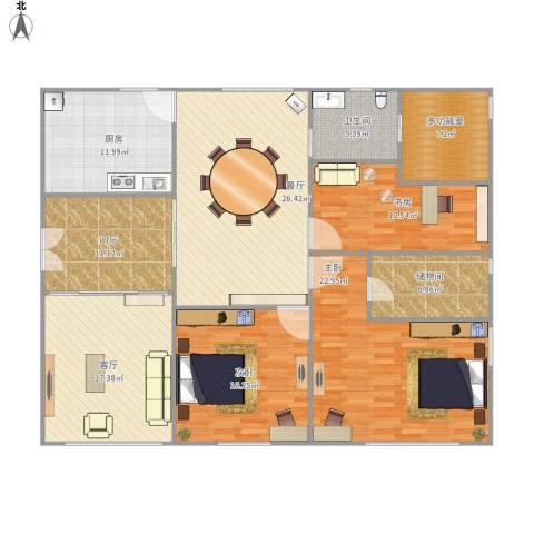 山水文园五期3室2厅1卫1厨184.00㎡户型图