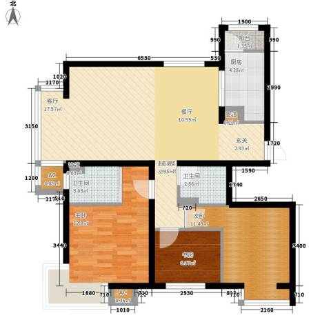 水木清华3室0厅2卫1厨123.00㎡户型图