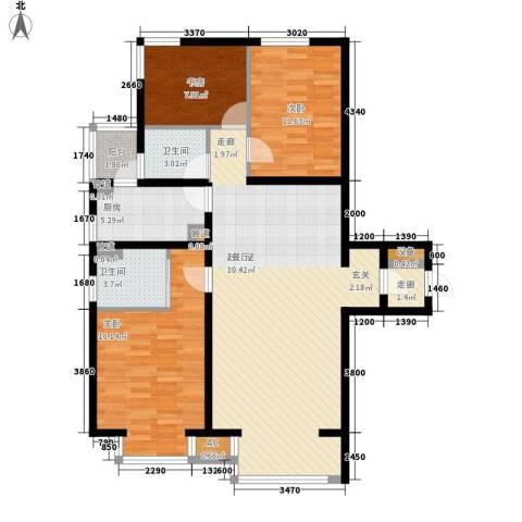 水木清华3室0厅2卫1厨116.00㎡户型图