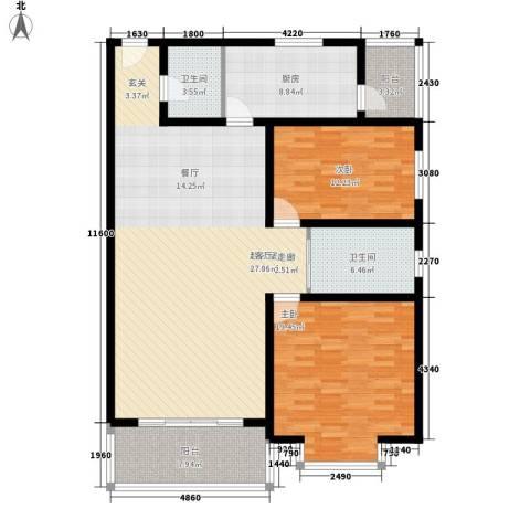 山景明珠花园2室0厅2卫1厨123.00㎡户型图