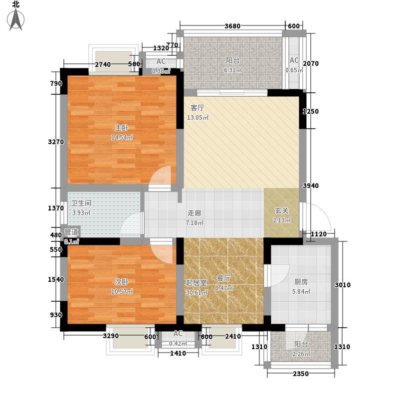 水岸雅居88.14㎡水岸雅居户型图1-3-2-2型2室2厅1卫1厨户型2室2厅1卫1厨