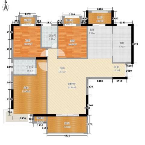万达星城3室1厅2卫1厨128.00㎡户型图