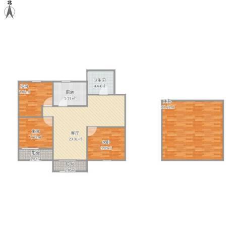 昌里花园二期4室1厅1卫1厨123.00㎡户型图