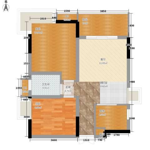 复地城就2室0厅1卫1厨66.00㎡户型图