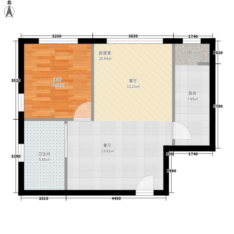 京投快线阳光花园6.33㎡8号楼B4户型1室1厅1卫1厨