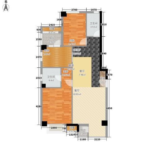 傲城尊邸2室1厅2卫1厨127.00㎡户型图