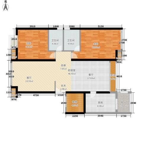 东方曼哈顿尚东区2室0厅2卫1厨123.00㎡户型图