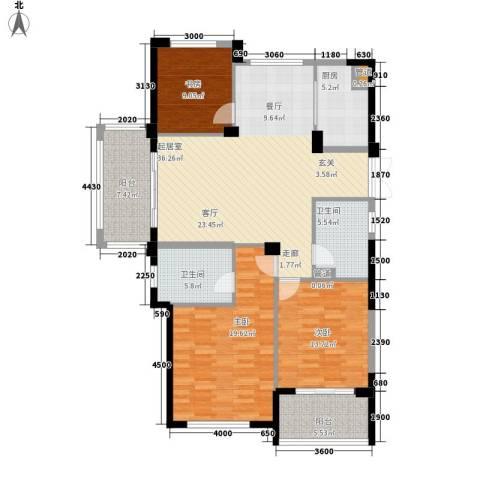 滨江城市之星3室0厅2卫1厨136.00㎡户型图