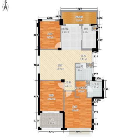 滨江城市之星3室0厅2卫1厨128.00㎡户型图
