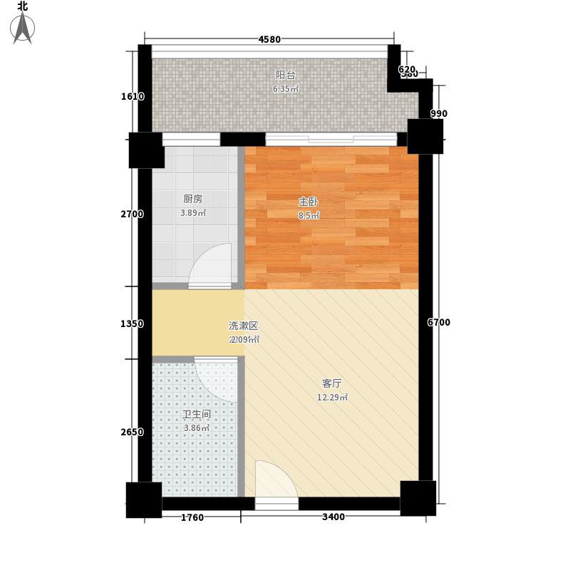 富雅苑48.19㎡D户型1室1厅