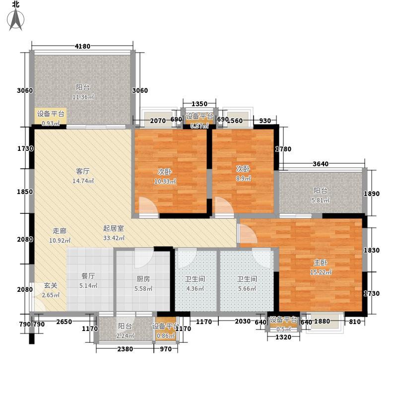 漫岭云天116.52㎡C2型户型3室2厅2卫1厨