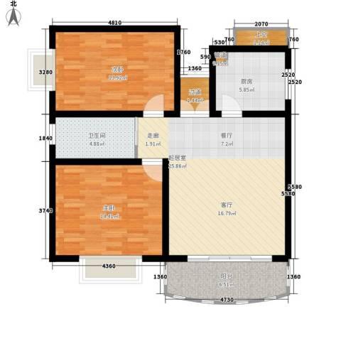 新锐湘都2室0厅1卫1厨85.00㎡户型图