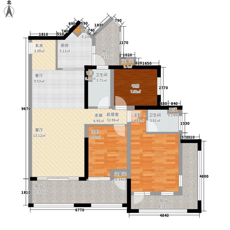 中德英伦联邦93.00㎡B区13、14、15号楼F2户型3室2厅2卫1厨