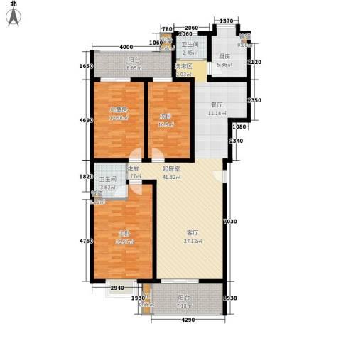 宏轩花苑3室0厅2卫1厨126.00㎡户型图