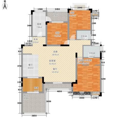 金科天籁城紫园3室0厅2卫1厨156.49㎡户型图