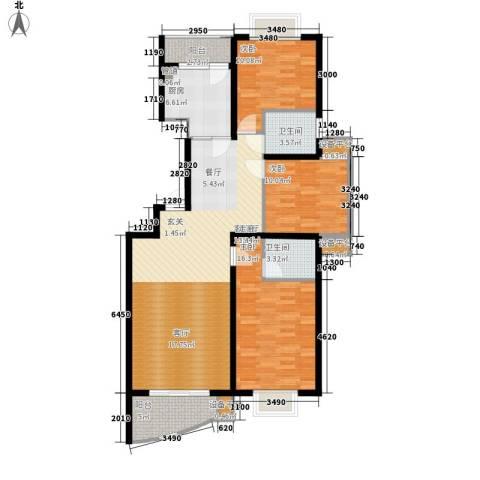 颐美园3室1厅2卫1厨111.00㎡户型图