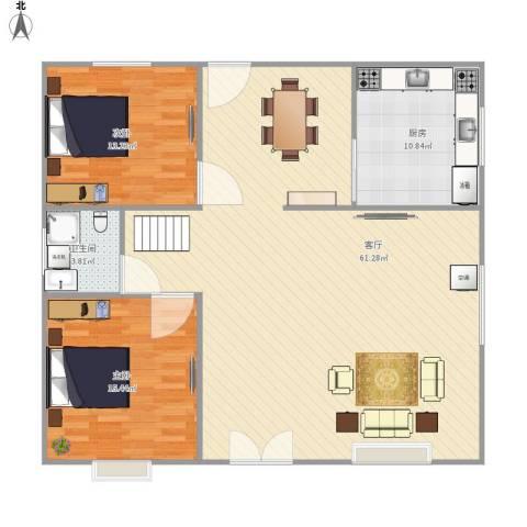 东区自建房2室1厅1卫1厨138.00㎡户型图