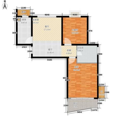 新地国际公寓御景2室0厅1卫1厨116.00㎡户型图