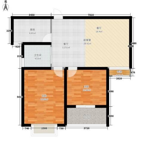 华夏太阳城二期2室0厅1卫1厨84.00㎡户型图