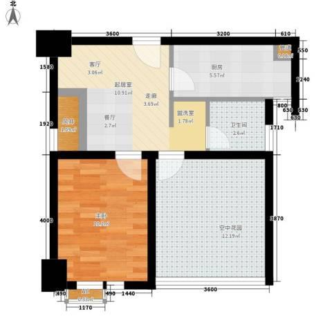 经典华城一期梧桐语1室0厅1卫1厨61.00㎡户型图