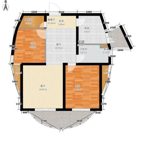 上海花园2室1厅1卫1厨95.29㎡户型图
