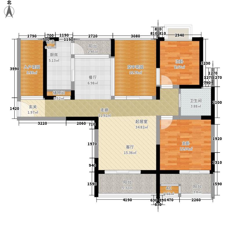 金科东方上院110.00㎡金科东方上院户型图东方上院T1-c户型2室2厅1卫户型2室2厅1卫