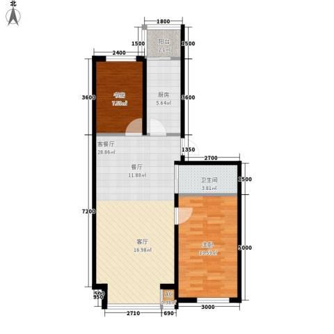 筑石居易2室1厅1卫1厨86.00㎡户型图