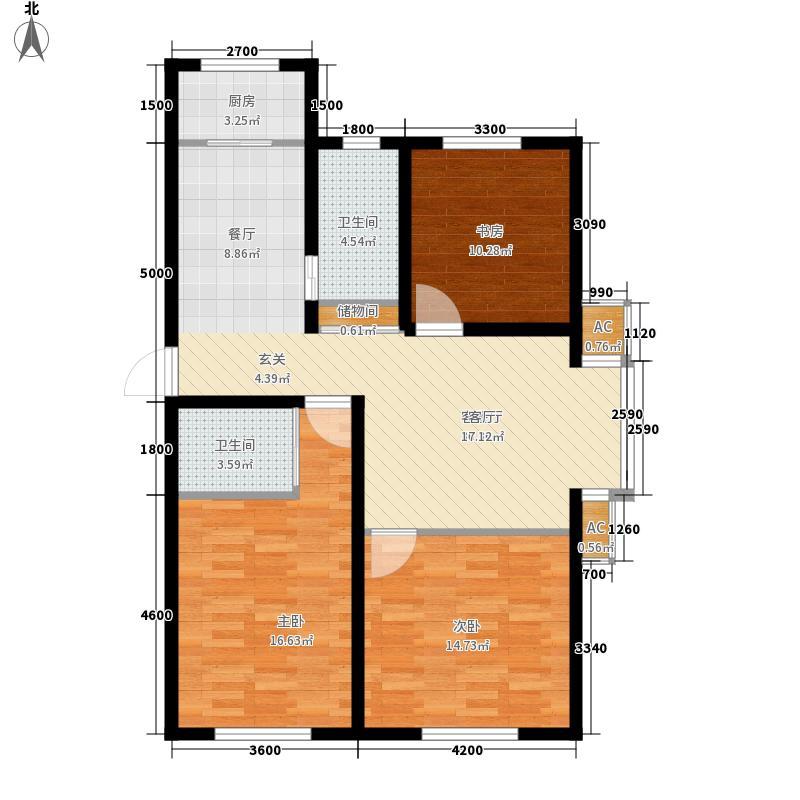 筑石居易户型b户型3室2厅2卫1厨