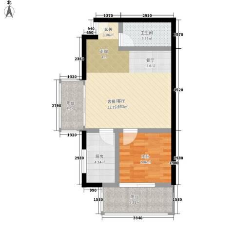 阳光山海湾1室1厅1卫1厨56.00㎡户型图