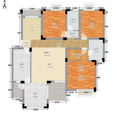 中海国际社区碧林3室1厅2卫1厨170.00㎡户型图