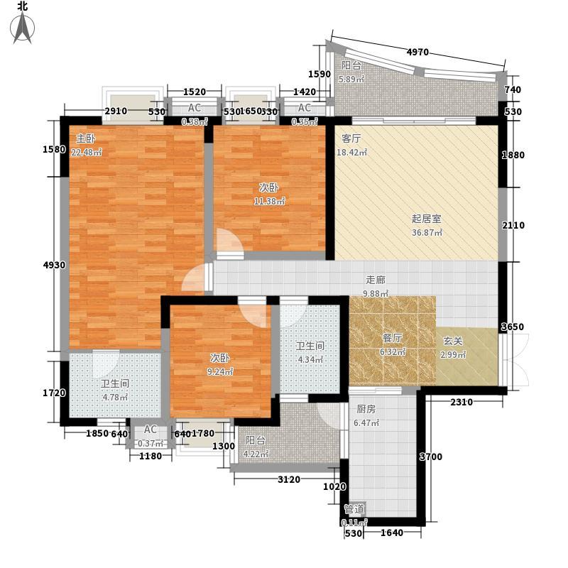 水岸雅居123.58㎡水岸雅居户型图2-1-4型3室2厅2卫1厨户型3室2厅2卫1厨