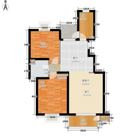 书香银苑2室1厅1卫1厨78.47㎡户型图