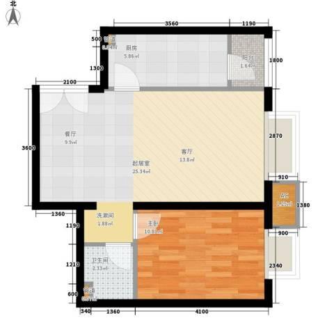润枫锦尚1室0厅1卫1厨64.00㎡户型图