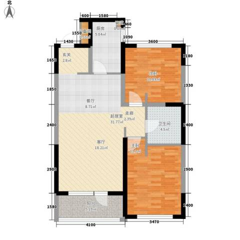万科城2室0厅1卫1厨104.00㎡户型图
