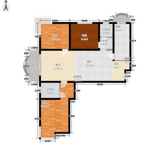 知音艺园3室0厅2卫1厨132.00㎡户型图
