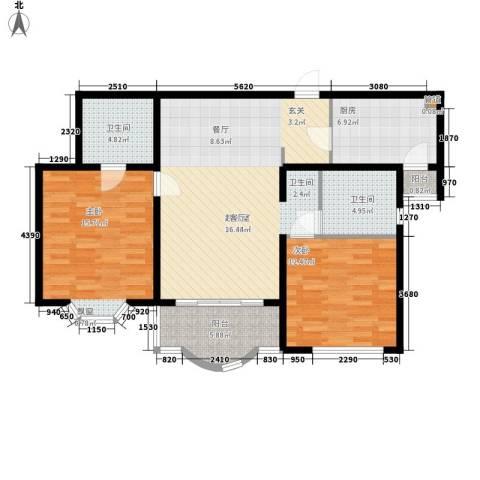 知音艺园2室0厅2卫1厨94.00㎡户型图