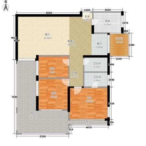 阳光山海湾3室1厅2卫1厨117.00㎡户型图