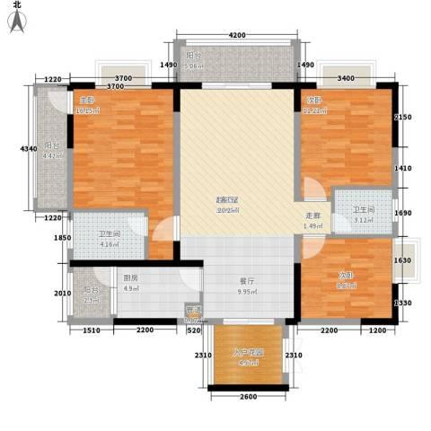 钱隆学府二期3室0厅2卫1厨129.00㎡户型图