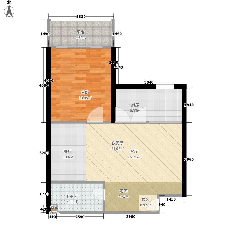 阳光山海湾62.50㎡B1户型1室2厅1卫1厨