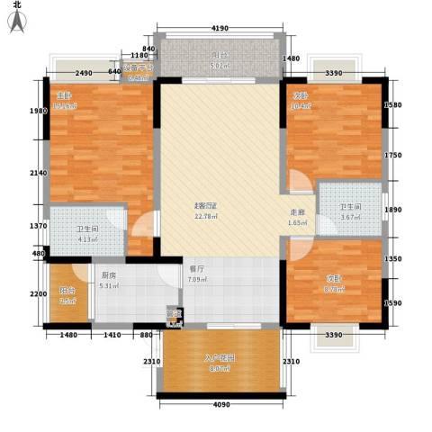 钱隆学府二期3室0厅2卫1厨128.00㎡户型图