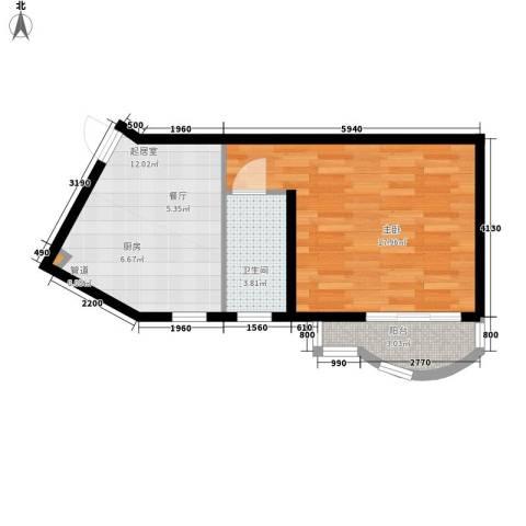 现代映象1室0厅1卫0厨52.00㎡户型图