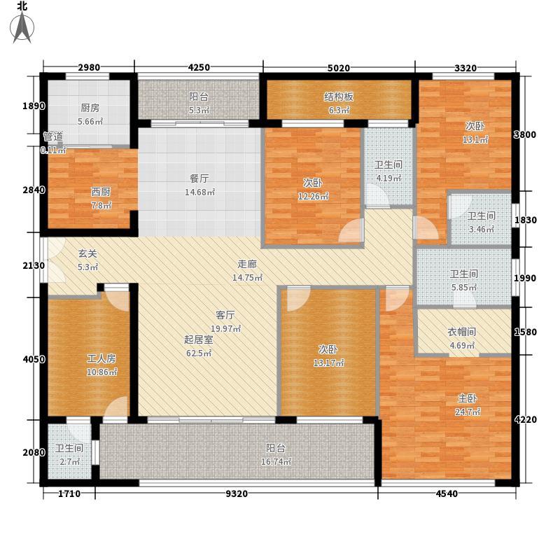 世欧王庄209.60㎡H1户型5室2厅4卫2厨